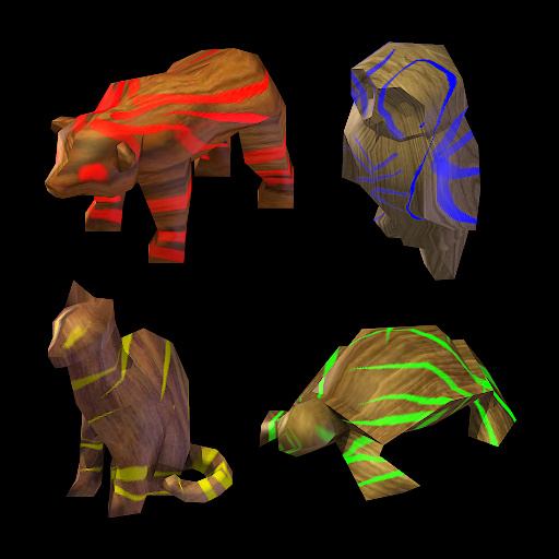 animal figurines render preview with red bear, blue owl, yellow cat, green turtle