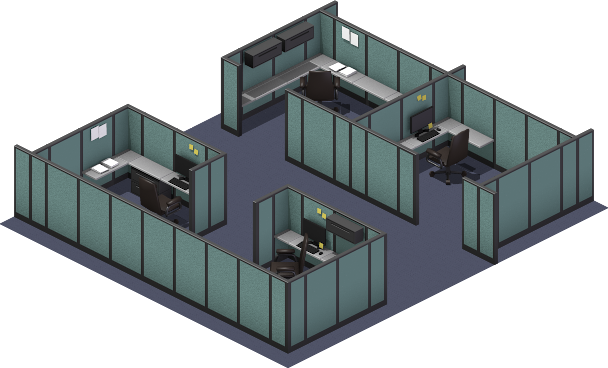 Test of the cubicle/office tile set