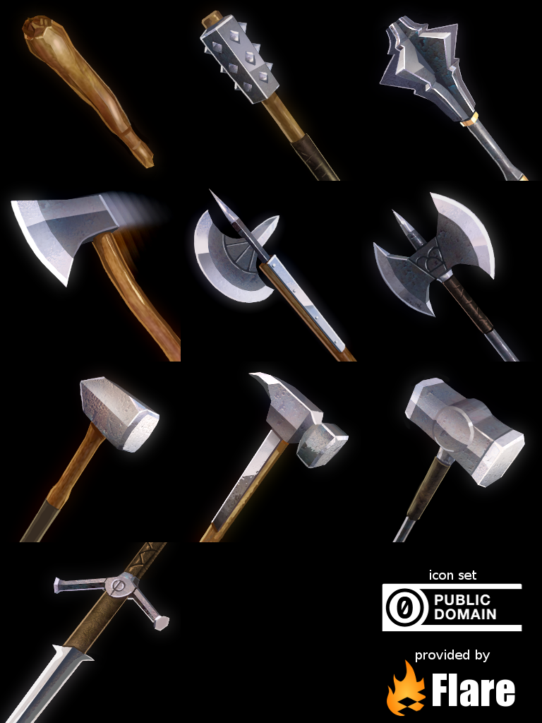 Painted icons for the medieval weapons pack