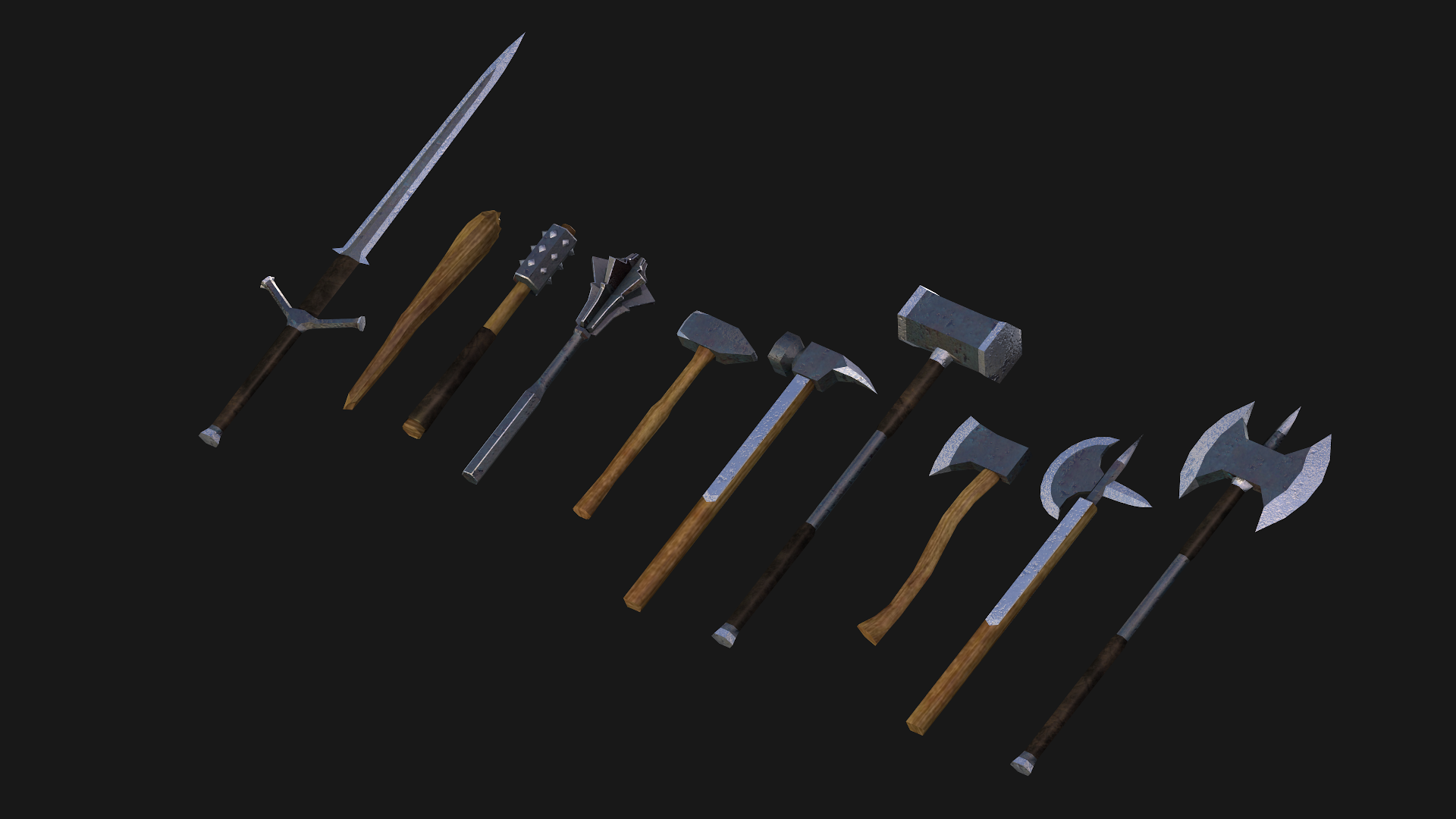 Rendering of ten plain martial weapons